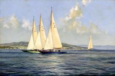 Dragon Class Yachts Jockeying For The Start On The River Clyde, Scotland Artwork By Montague Dawson Oil Painting & Art Prints On Canvas For Sale Montague Dawson, Dragon Classes, Sailboat Painting, Borders For Paper, Ship Art, Art Reproductions, Decoration, Canvas Art Prints, Sailing Ships