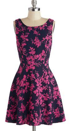 Magenta & Navy Floral Print Dress