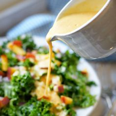 Kale Salad with Peach Vinaigrette « Detoxinista ( I would add some kind of toasted nuts)