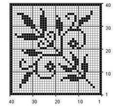 Leaves and Tiny Flowers Filet Crochet Chart
