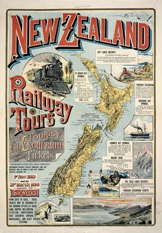 Vintage New Zealand Railway Tours Map Map Of New Zealand, New Zealand Travel, Auckland, Map Shop, Railway Posters, Kiwiana, Historical Maps, Pinterest Photos, Vintage Travel Posters