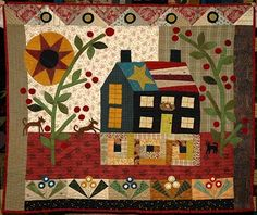 "Quilt by Beth / Machine Quilted by Judi / Quilt pattern: ""Flea Market"". You really MUST click on this and see all the detailed quilting and piecing. So amazing!  The photo of the whole quilt doesn't do it justice. I can only imagine seeing this IRL. Greenfairyquilts"