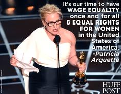 """We loved Patricia Arquette's acceptance speech last night. """"It's our time to have wage equality once and for all, and equal rights for women in the United States of America,"""" she said to a strong show of support from Meryl Streep and Jennifer Lopez."""