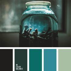Alina Góndareva, celeste, celeste plateado, color contrastante, color contrastante y tonos pastel, color verde jade, color verde jade oscuro, elección del color, esmeralda, esmeralda oscuro, paleta de colores monocromática, tonos verdes, turquesa, verde oscuro.