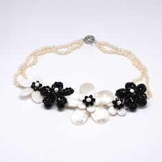 Flower Mother of Pearl Bib Necklaces