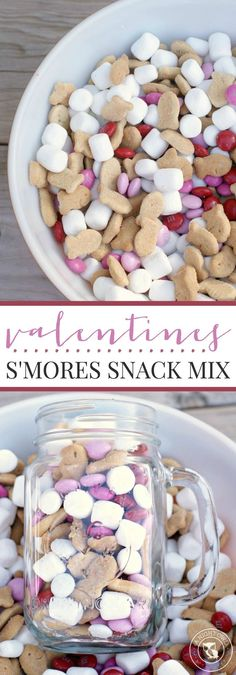Snack Mix Valentines Smores Snack Mix - a delicious and festive combination of graham, chocolate and marshmallow in a snack mix!Valentines Smores Snack Mix - a delicious and festive combination of graham, chocolate and marshmallow in a snack mix! Kinder Valentines, Valentines Day Food, Valentine Treats, Holiday Treats, Holiday Recipes, Valentine Party, Holiday Desserts, Printable Valentine, Homemade Valentines