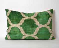 Handmade ikat silk velvet Pillow Cover 16x22 Green by pillowme