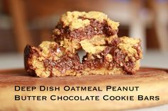 Deep Dish Oatmeal Peanut Butter Chocolate Cookie Bars
