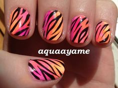 Looks simple enough! pink, orange, and yellow ombre with tiger stripes