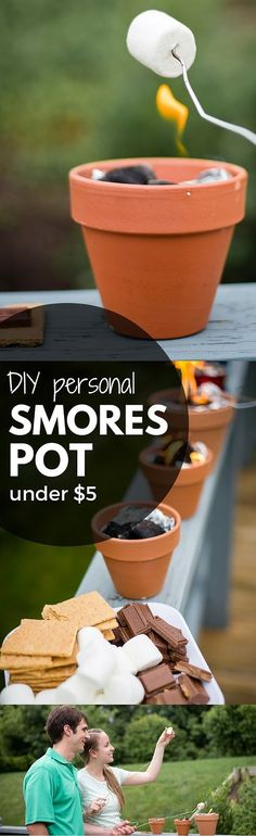 DIY personal smores pots are perfect for backyard entertaining or summer smore parties when you don't have a fire pit summer party food bbq recipes for DIY Smores Pot Summer Crafts, Summer Fun, Diy And Crafts, Crafts For Kids, Neon Crafts, Family Crafts, Summer Parties, Summer Ideas, Summer Nights