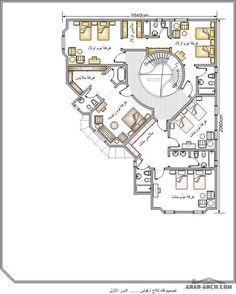 اضغط هنا  لغلق أواضغط وحمل للصورة المؤثّرة. Square House Plans, Luxury House Plans, Dream House Plans, House Floor Plans, House Floor Design, Home Design Floor Plans, Bungalow House Design, Minimal House Design, Classic House Design