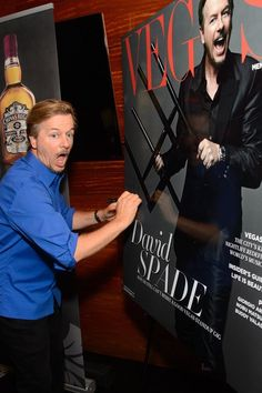 Funnyman David Spade celebrated his cover of Vegas Magazine and show at The Mirage Friday night Oct 17, 2014 with a private dinner at STACK Restaurant & Bar (Photo credit: Al Powers).