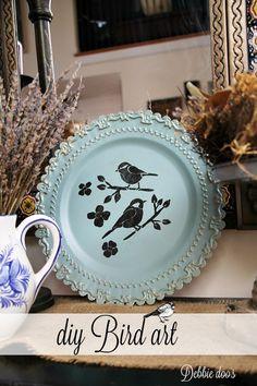 bird art diy - Spring art on a tin plate Spring Projects, Spring Crafts, Craft Projects, Craft Ideas, Diy Ideas, Decor Ideas, Crafts To Make, Fun Crafts, Bird Crafts
