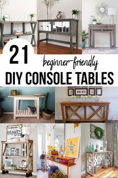 Great collection of DIY console tables! These are great for the entryway, living room. SOme have drawers or shelves. And they all have woodworking plans! #anikasdiylife