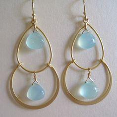 Sea Foam Chalcedony Gold Earrings.
