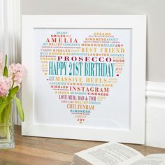 21st Birthday Gift for Her of Typographic Love Heart (funky town colour option). Beautiful Personalised Word Art Gifts to Commemorate a Landmark Birthday. Easy to Create, Preview on Screen Before You Buy & Fast Free Delivery. Create Now…