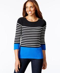 Karen Scott Striped Zip-Shoulder Sweater, Only at Macy's