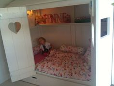 Cute enclosed bed for little munchkins! Build A Closet, Bed In Closet, Enclosed Bed, Bed Nook, Murphy Bed, Little Girl Rooms, Dream Rooms, Children's Place, New Room