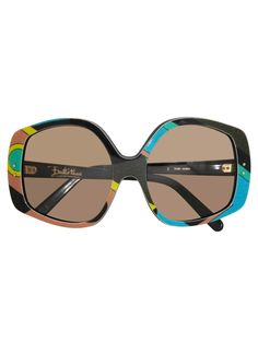 """EMILIO PUCCI 1970s Vintage Round Oversized Sunglasses by Vintage von Werth Vintage Emilio Pucci oversized sunglasses with a beautiful signature pattern in turquoise, emerald, dark green, black and yellow. Light brown plastic lenses. Signed Emilio Pucci on temple. Made in France. ConditionExcellent. Lenses are brandnew.MeasurementsTotal width 14,5 cm/5.7""""Total height 6,5 cm/2.6""""Width from temple to temple 13,5 cm/5.3""""Temple length 13,5 cm/5.3"""""""