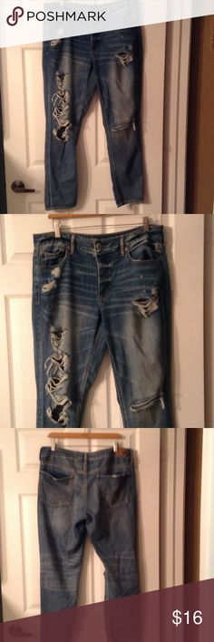 """Really Ripped Jeans Awesome very ripped jeans in great condition.  30"""" inseam. American Eagle Outfitters Jeans"""