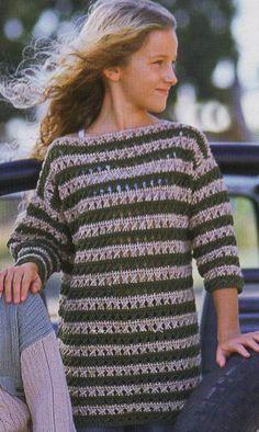 Striped Girl Tunic free crochet graph pattern