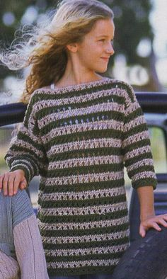 Striped Girl Tunic free crochet graph pattern