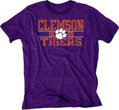 Clemson Tigers Blue 84 Purple Tri-Blend Lightweight Short Sleeve T-Shirt