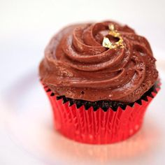Standing Ovation: Sweet Chocolate Port Cupcakes, Port Wine Reduction Syrup, Raspberry Creme Fraiche Filling, French Chocolate Mousse