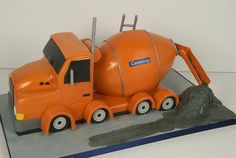 Cement Truck Cake A orange cement truck cake for the birthday of a cement company president. Truck Birthday Cakes, Truck Cakes, Little Boy Cakes, Cakes For Boys, Concrete Cake, Cake Toronto, Realistic Cakes, Food Truck Design, Construction Party