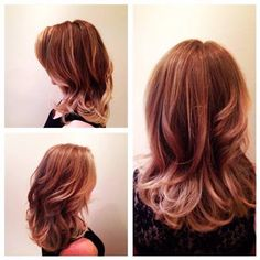 Beautiful cut and colour work by Mitchell. Warm shaded caramels and honey tones.