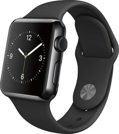 Apple - Apple Watch 38mm Space Black Stainless Steel Case - Black Sport Band