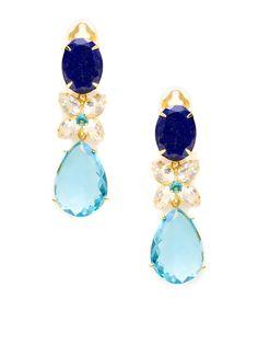 Lapis, Clear Quartz, & Blue Quartz Butterfly Drop Earrings by Bounkit