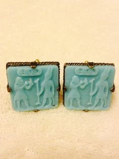 Antique Cuff Links Egyptian Blue Glass Upcycled by GreatGatsbys