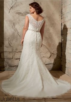 3172 Wedding Gowns / Dresses Alencon Lace Appliques on Net with Crystal Beading