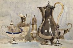 fletchingarrows:    stilllifequickheart:    Arthur Streeton (Australian, 1867-1943), Still Life, Georgian Silver. Watercolour, 30 x 46 cm.  via    i have always wanted a silver tea service of my very own