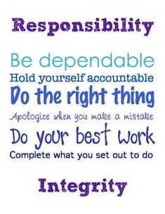"FREEBIE: Classroom Subway Art ""Responsibility"""