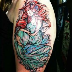 Interesting mermaid tattoo