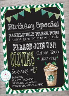 Starbucks Cafe Coffee Shop Inspired Birthday Party invitation by LoveAByeBaby