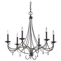 The Rustic Iron Aliya chandelier is a fresh take on an old classic. Six candelabra lights on an elegant frame. Accented with distressed wooden beads.