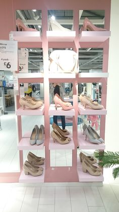 Ikea 'Lack' shelves and 'Lots' mirrors for an unusual shoe rack!!