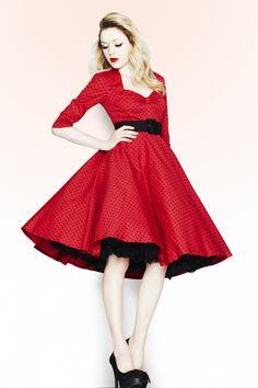 Bunny - 50s Momo swing dress Red Black polka dot