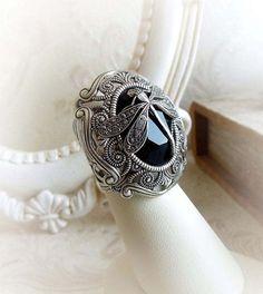 Dragonfly black gothic ring Swarovski crystal by MidnightVision