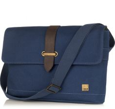 "Troon 13"" Blue Canvas Slim Messenger Bag from KNOMO: Official Store"