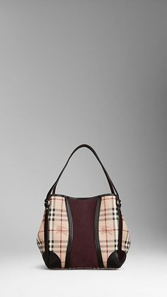 SMALL HAYMARKET SUEDE PANEL TOTE BAG | Burberry