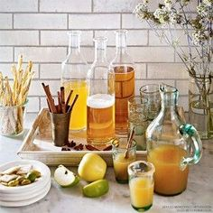 Set up a cider station during autumn parties! It's the perfect way to have guests serve themselves with a festive flair - bhgrelife.com