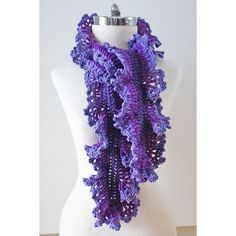 Umbra Ruffle scarf in Purple gradient yarns by Valerie Baber Designs,... ($74) ❤ liked on Polyvore featuring accessories and scarves