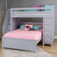Solitaire White L-shaped bunk bed Space to growSolitaire White L-shaped bunk bed Space to growTwin L-shaped bunk bed with stairs Ayres Twin Loft Bed with drawers and shelves Solitaire White L-shaped bunk bed Room to Platform Bed With Drawers, Bunk Beds With Drawers, Twin Platform Bed, Bunk Beds With Stairs, Bunk Beds For Girls Room, Bunk Bed Rooms, Kid Beds, Loft Beds, Modern Bunk Beds