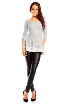 Szaro biała tunika damska z półokrągłym dekoltem Leather Pants, Chic, Patterns, Style, Fashion, Tunic, Leather Jogger Pants, Shabby Chic, Block Prints