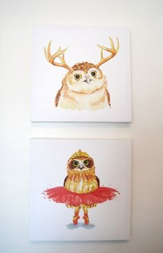 Woodland nursery - Owl wall art