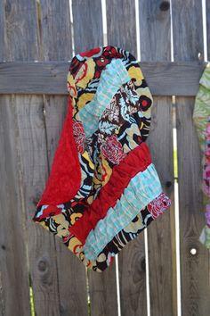 Ruffled Lovey/Stroller Blanket mocca by SassyStork on Etsy, $24.99